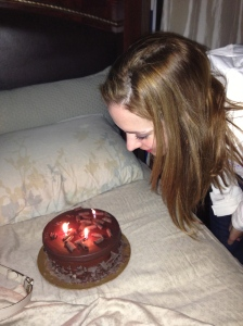 Birthday Cake on the Bed