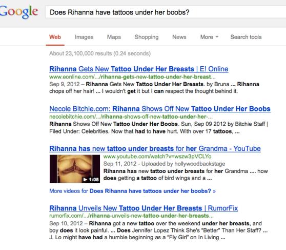 Rihanna Boob Marking Google Search